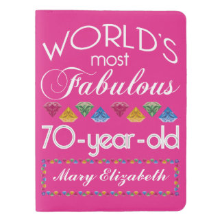 70th Birthday Most Fabulous Colorful Gems Pink Extra Large Moleskine Notebook