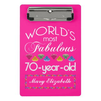 70th Birthday Most Fabulous Colorful Gems Pink Mini Clipboard