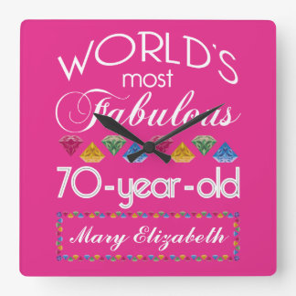 70th Birthday Most Fabulous Colorful Gems Pink Square Wall Clock