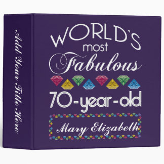 70th Birthday Most Fabulous Colorful Gems Purple 3 Ring Binder