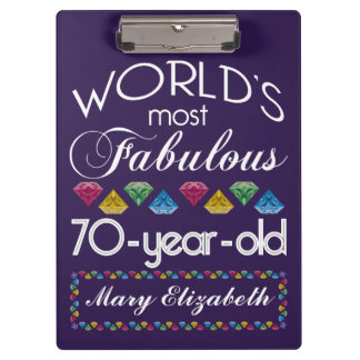 70th Birthday Most Fabulous Colorful Gems Purple Clipboard