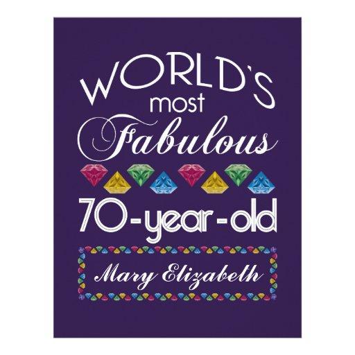 70th Birthday Most Fabulous Colorful Gems Purple Custom Letterhead