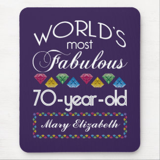 70th Birthday Most Fabulous Colorful Gems Purple Mouse Pad