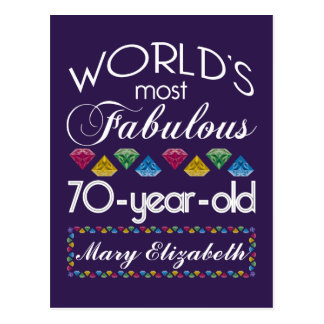 70th Birthday Most Fabulous Colorful Gems Purple Post Cards