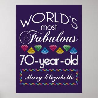 70th Birthday Most Fabulous Colorful Gems Purple Print