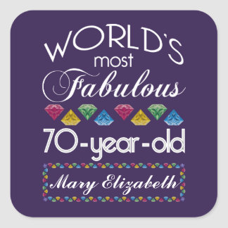 70th Birthday Most Fabulous Colorful Gems Purple Square Sticker