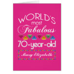 70th Birthday Most Fabulous Colourful Gems Pink Greeting Card