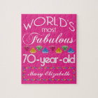 70th Birthday Most Fabulous Colourful Gems Pink Jigsaw Puzzle