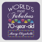 70th Birthday Most Fabulous Colourful Gems Purple Square Sticker