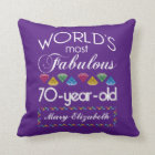 70th Birthday Most Fabulous Colourful Gems Purple Throw Pillow