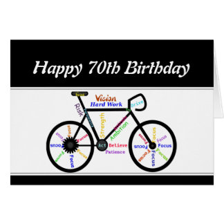 70th Birthday Motivational Bike Bicycle Cycling Card