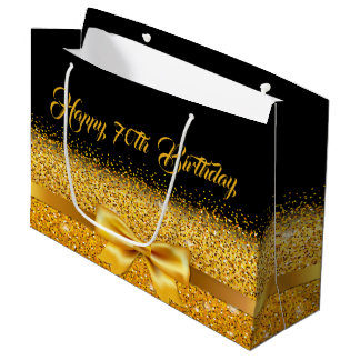 70th birthday on black with gold bow sparkle large gift bag