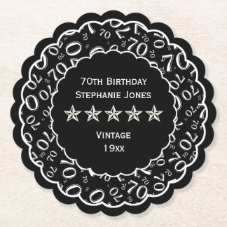 70th Birthday Party Black/White Pattern Theme Paper Coaster