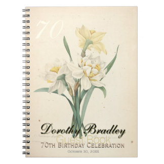 70th Birthday Party Botanical Narcissus Guest Book