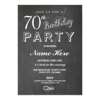 70TH BIRTHDAY PARTY CHALKBOARD SURPRISE INVITE