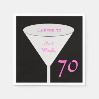 """70th Birthday Party """"Cheers To"""" Paper Napkins"""
