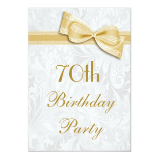 70th Birthday Party Damask and Faux Bow 5x7 Paper Invitation Card