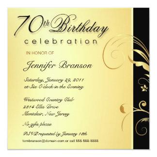 70th Birthday Party - Elegant Gold Floral Invites