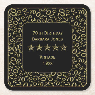 70th Birthday Party Gold/Black Pattern Square Paper Coaster