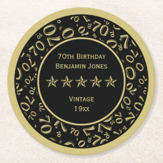 70th Birthday Party Gold/Black Round Pattern Round Paper Coaster