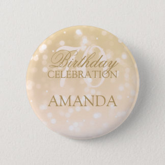 70th Birthday Party Gold Bokeh Sparkle Lights 2 Inch Round Button