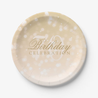 70th Birthday Party Gold Bokeh Sparkle Lights Paper Plate