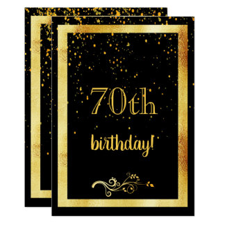 70th birthday party gold frame black card
