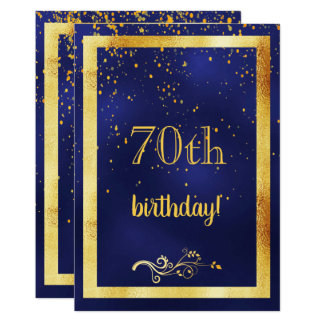 70th birthday party gold frame blue card