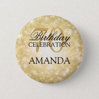 70th Birthday Party Gold Winter Wonderland 2 Inch Round Button