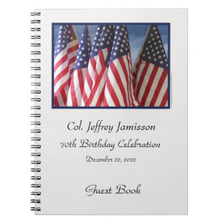 70th Birthday Party Guest Book, Flags Spiral Notebooks