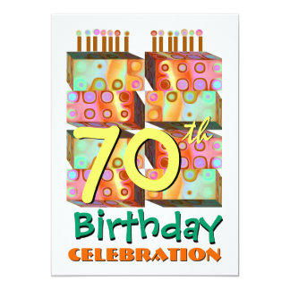 70th Birthday Party Invitation Candles & Gifts