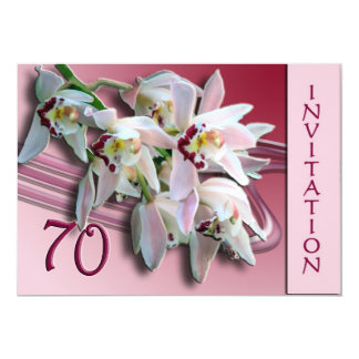 70th Birthday Party Invitation - Orchids