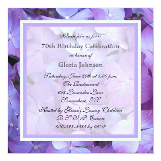 70th Birthday Party Invitation Purple Hydrangeas