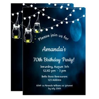 70th Birthday party invitation romantic blue moon