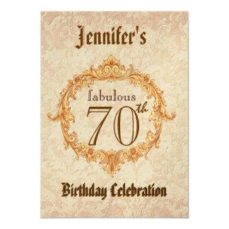 70th Birthday Party Invitation Vintage Gold Frame