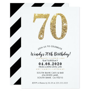 70TH BIRTHDAY PARTY INVITE modern gold glitter