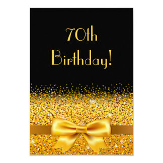 70th birthday party on black with gold bow sparkle card