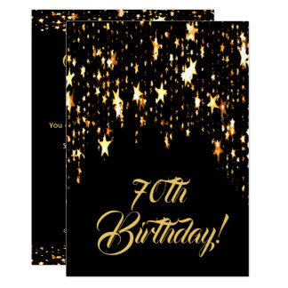 70th birthday party on black with shining stars card
