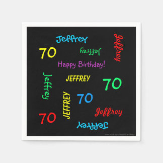70th Birthday Party Repeating Names Black Paper Paper Napkins