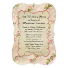 70th Birthday Party Scroll Frame w Vintage Roses Card