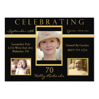70th Birthday Party Tri Photo Invitations