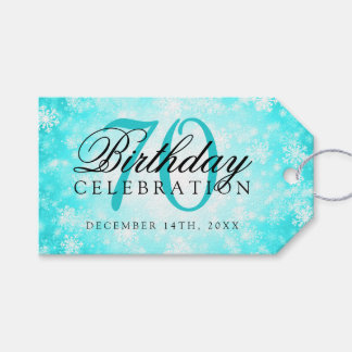 70th Birthday Party Turquoise Winter Wonderland Gift Tags