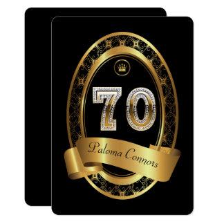 70th,birthday party woman man,elegant color card