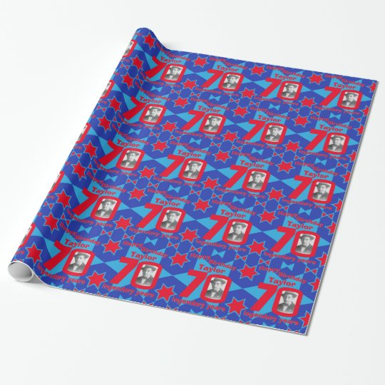 70th Birthday photo fun blue red gift wrap