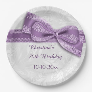 70th Birthday Purple Damask and Faux Bow Paper Plate