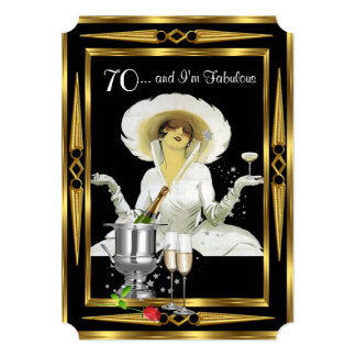 70th Birthday Retro Diva Art Deco Black Gold Card