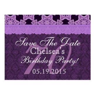70th Birthday Save the Date Purple Antique Lace Postcard
