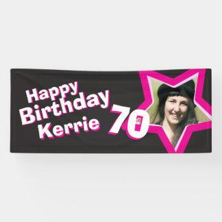70th birthday star custom photo banner