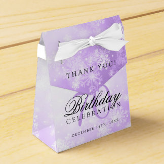 70th Birthday Thank You Purple Winter Wonderland Favor Box