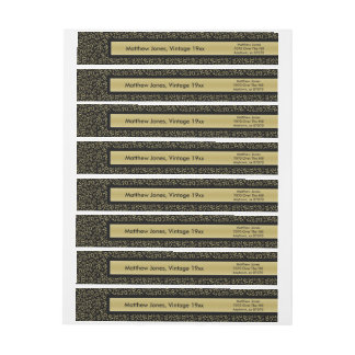 70th Birthday Theme Gold/Black Return Address Wrap Around Label